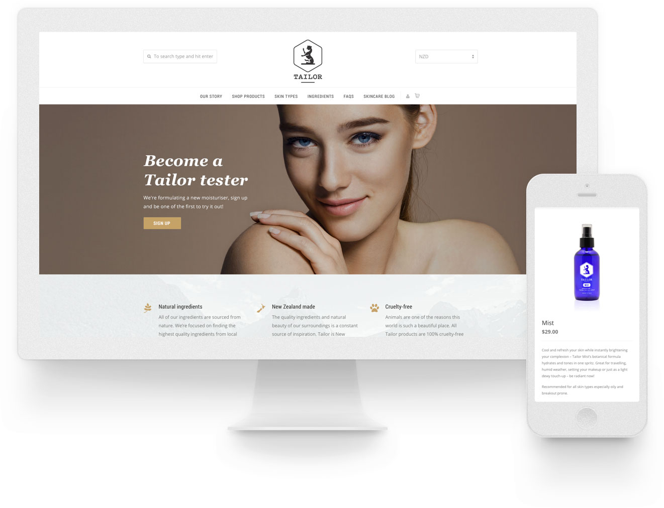eCommerce website development and design for Tailor Skincare